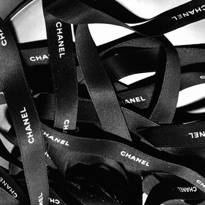 CHANEL Party Supplies - CHANEL BLACK SATIN RIBBON WHITE EMBLEM BY THE YARD